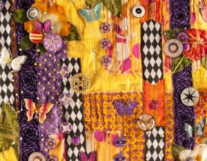 "Detail of art quilt work in progress - ""Gardens of Yellow and Butterflies"""