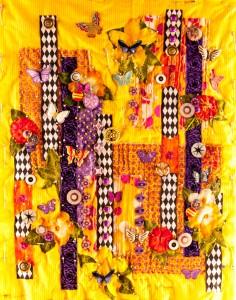 """Full shot of an art quilt in progress - :Gardens of Yellow and Butterflies"""""""
