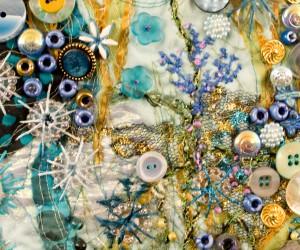 "Detail of hand embroidery on art quilt - ""Undersea Garden - Blue"""