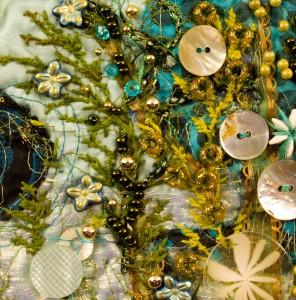 "Detail of hand embroidery on art quilt - ""Undersea Garden - Green"""