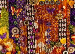 """Detail of an art quilt in progress, """"Gardens of Yellow and Butterflies"""""""
