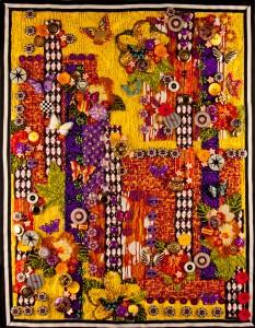 """Contemporary, beaded art quilt """"Garden of Yellow and Butterflies"""""""